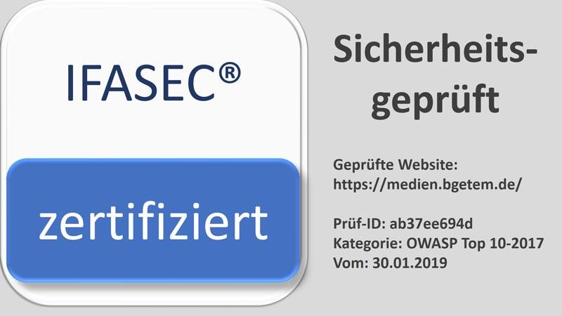 Zertifikat IFASEC
